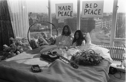 "The famous picture of Yoko Ono and John Lennon in their ""Ben In""- the same hotel I stayed in!"